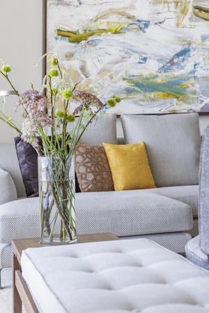 Luxury apartment living room flowers
