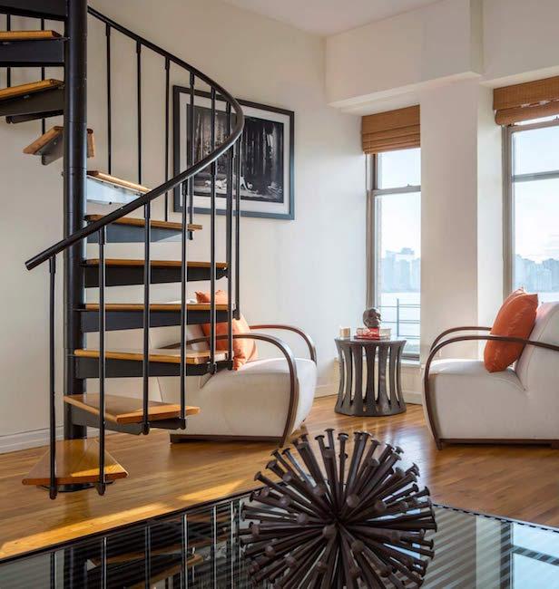 Bachelor Pad spiral staircase