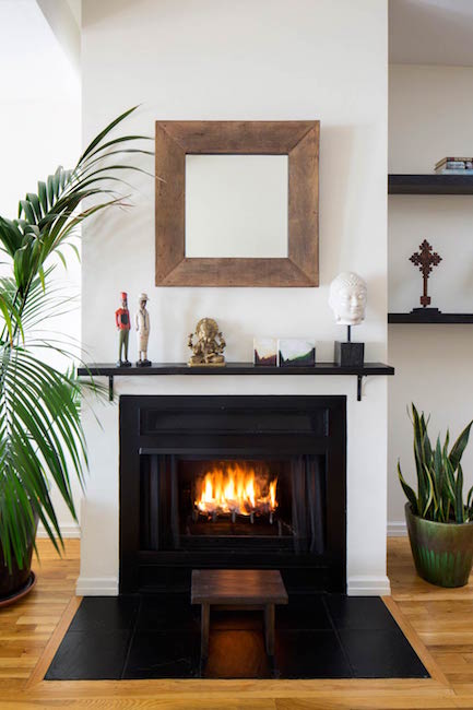 Bachelor pad fireplace
