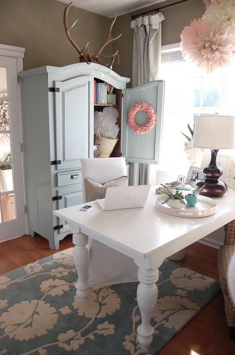 Blue Armoire Flower Carpet Home Office