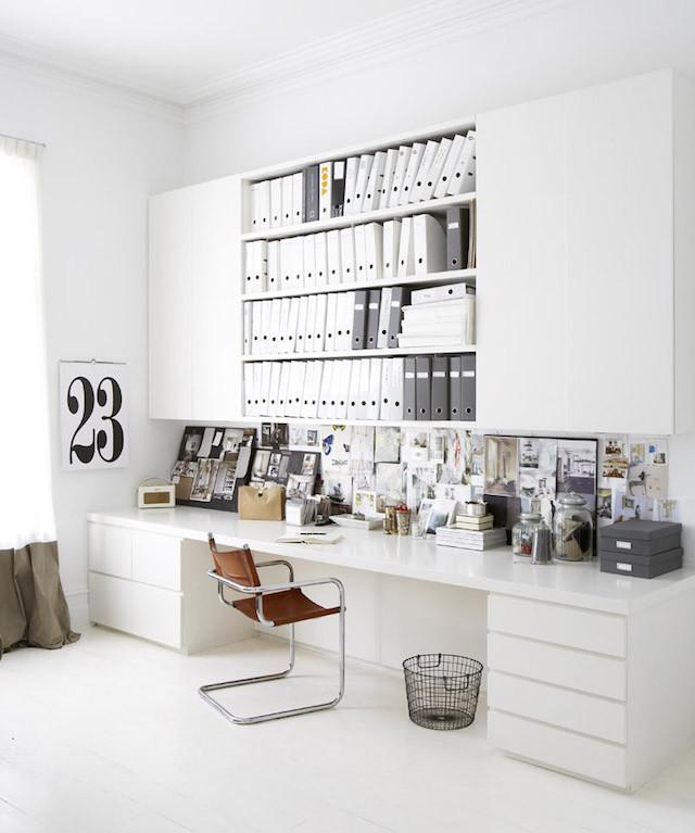 white home office magazine files
