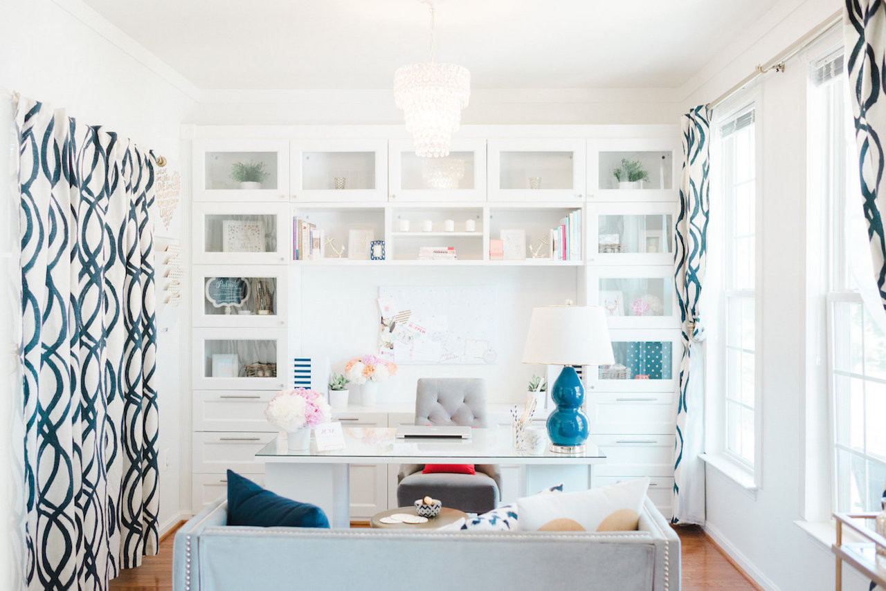 Glass front cabinets white home office