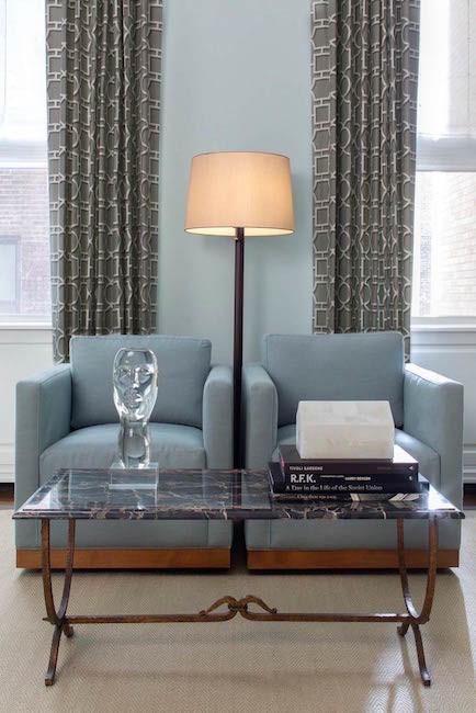 blue club armchairs
