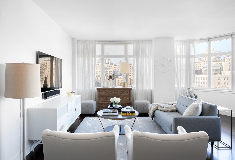 Living room sheer white curtains