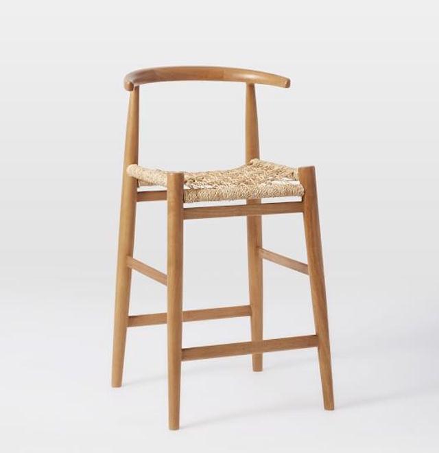 wooden counter stool woven seat John Vogel