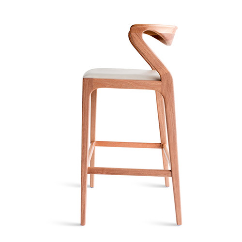 curved back wooden stool