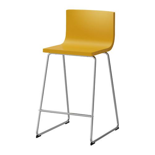 chrome-plated dark yellow bar stool