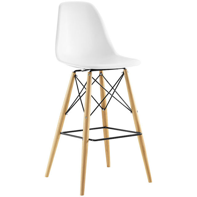 molded plastic stool with wooden base
