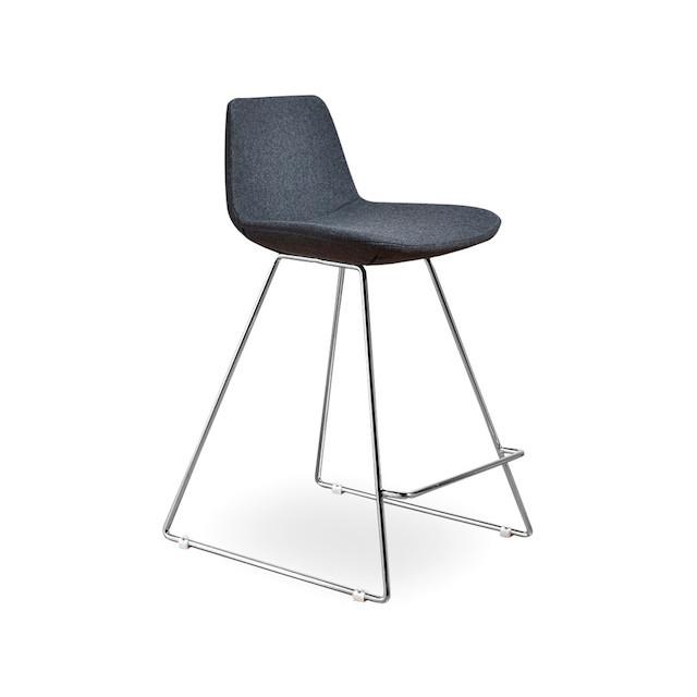 gray wool counter stool metal legs