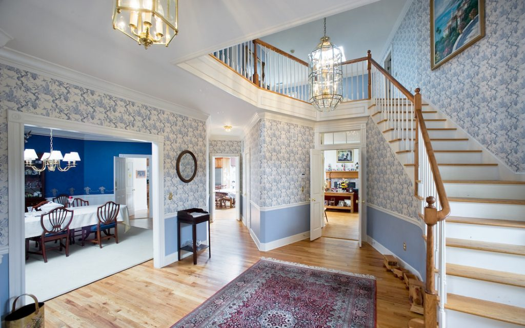 modern Connecticut mansion foyer
