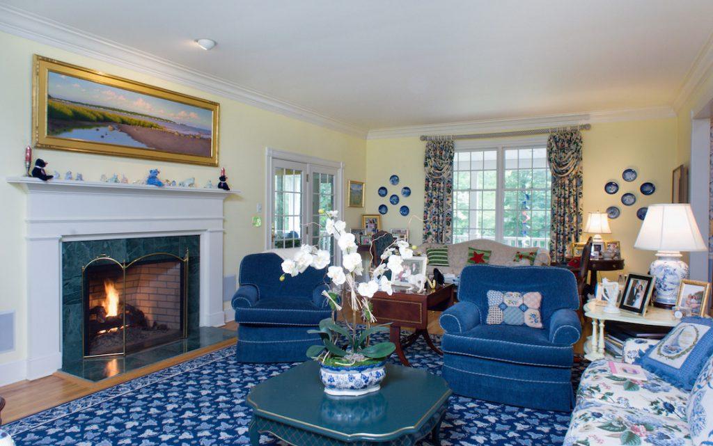 modern Connecticut villa fireplace
