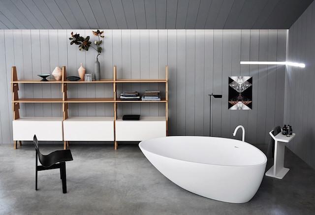 sculptural white freestanding tub