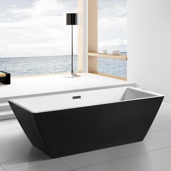 black and white rectangular freestanding bathtub