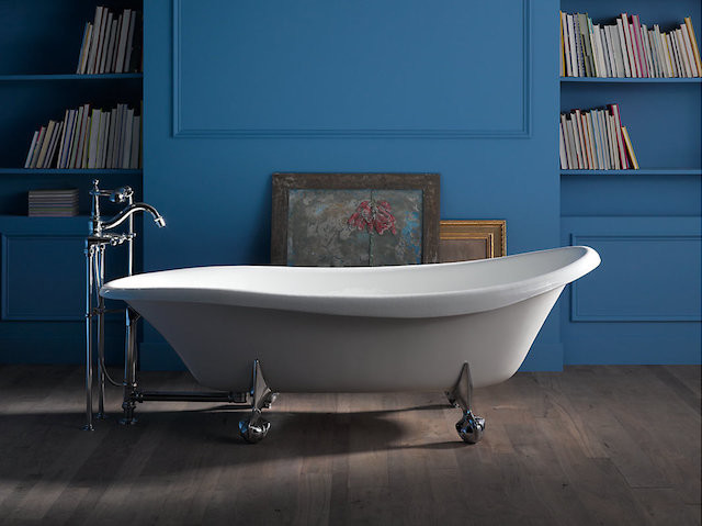 white freestanding claw foot tub