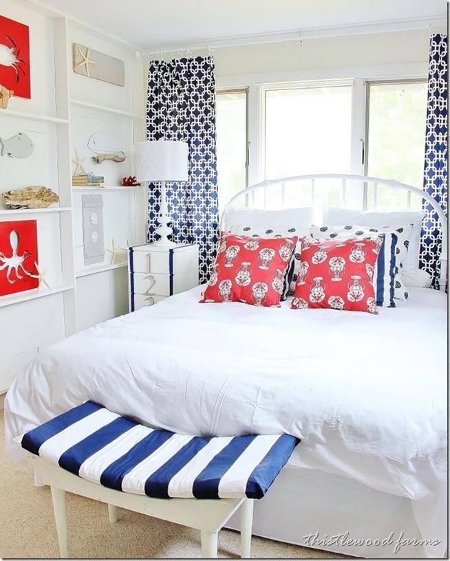 red white blue seaside bedroom