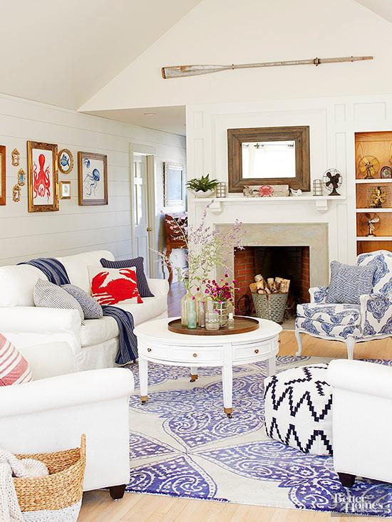 red white blue coastal living room