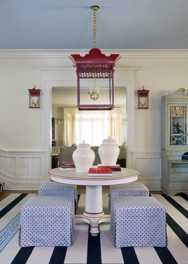 red hanging lantern blue and white cube seats
