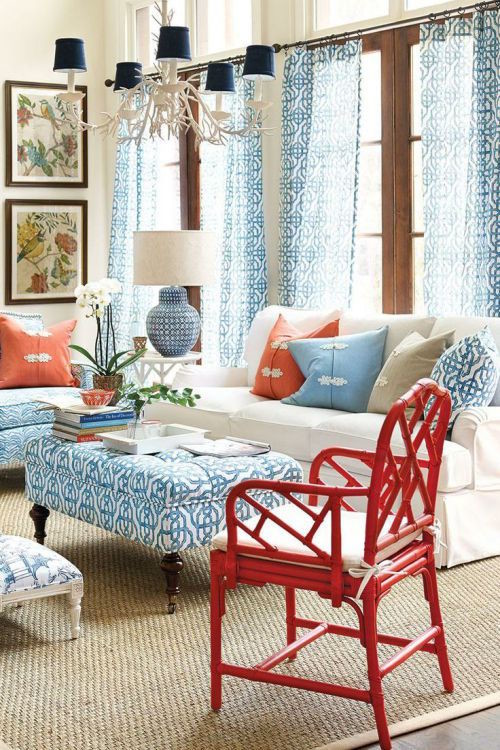 red white blue decor coast living room
