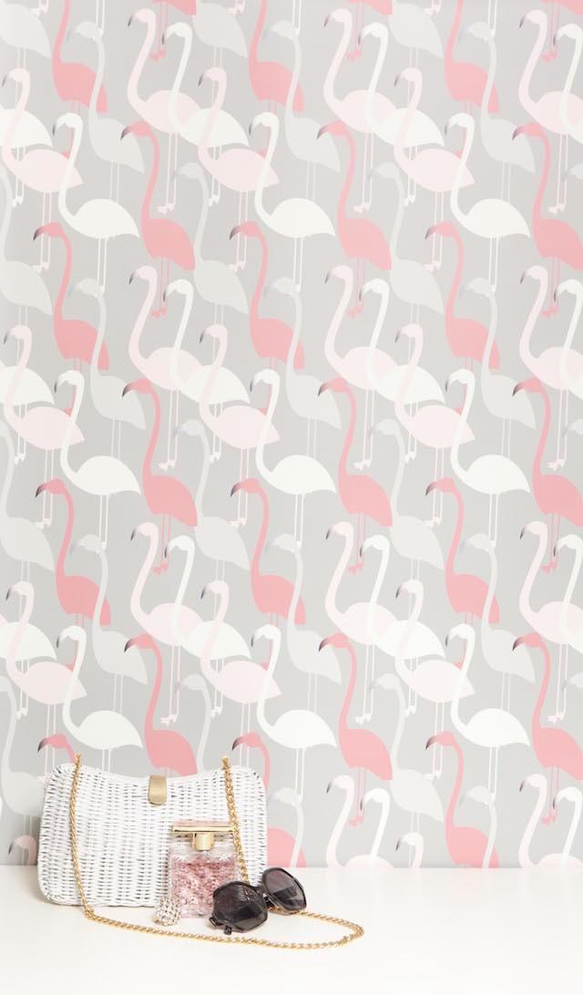 pink white gray flamingo print wallpaper
