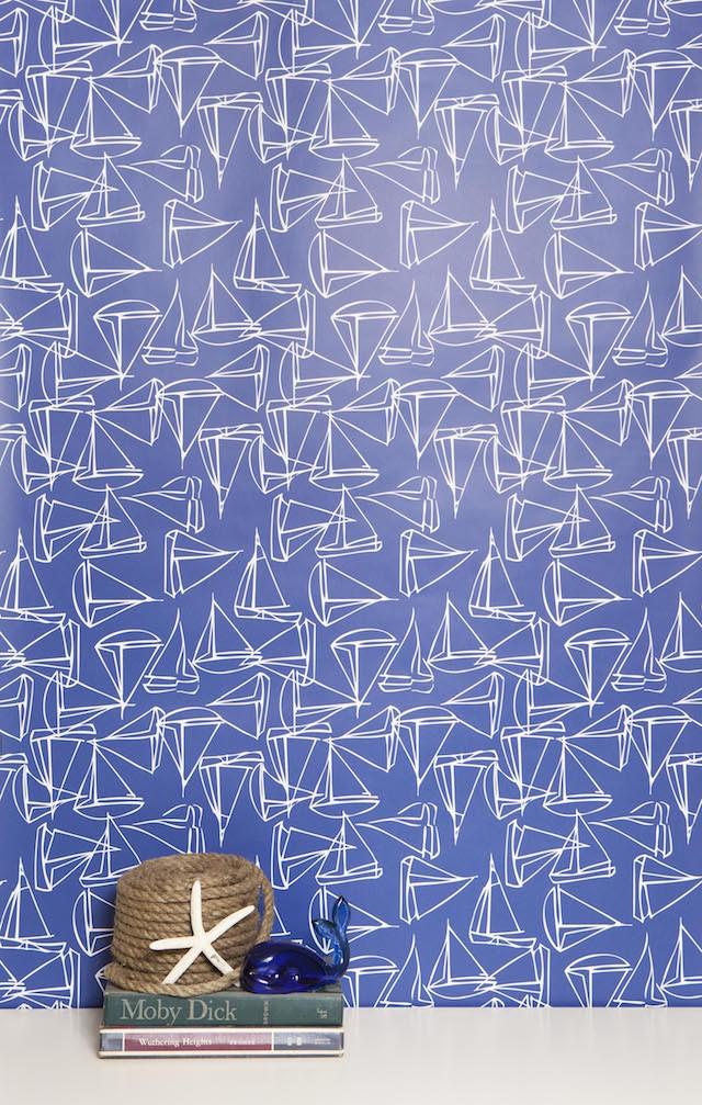 blue white sailboat print wallpaper