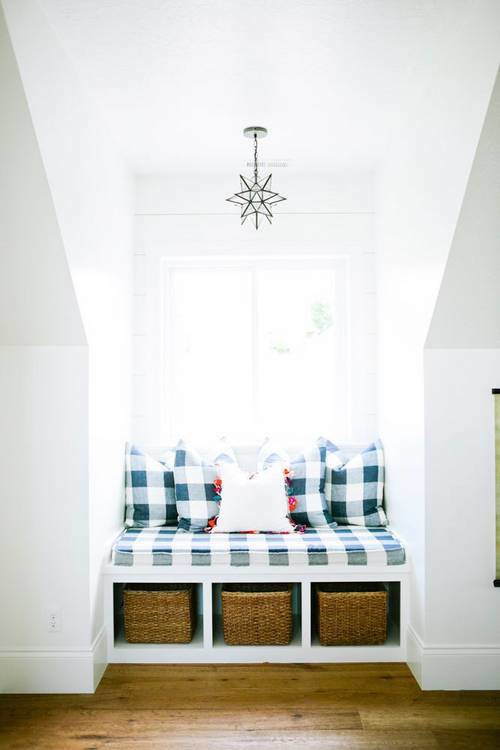 Gingham padded pillow window seat