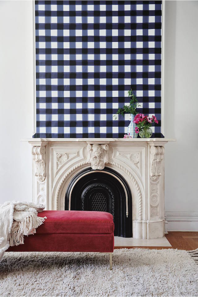Gingham wall art fireplace mantle