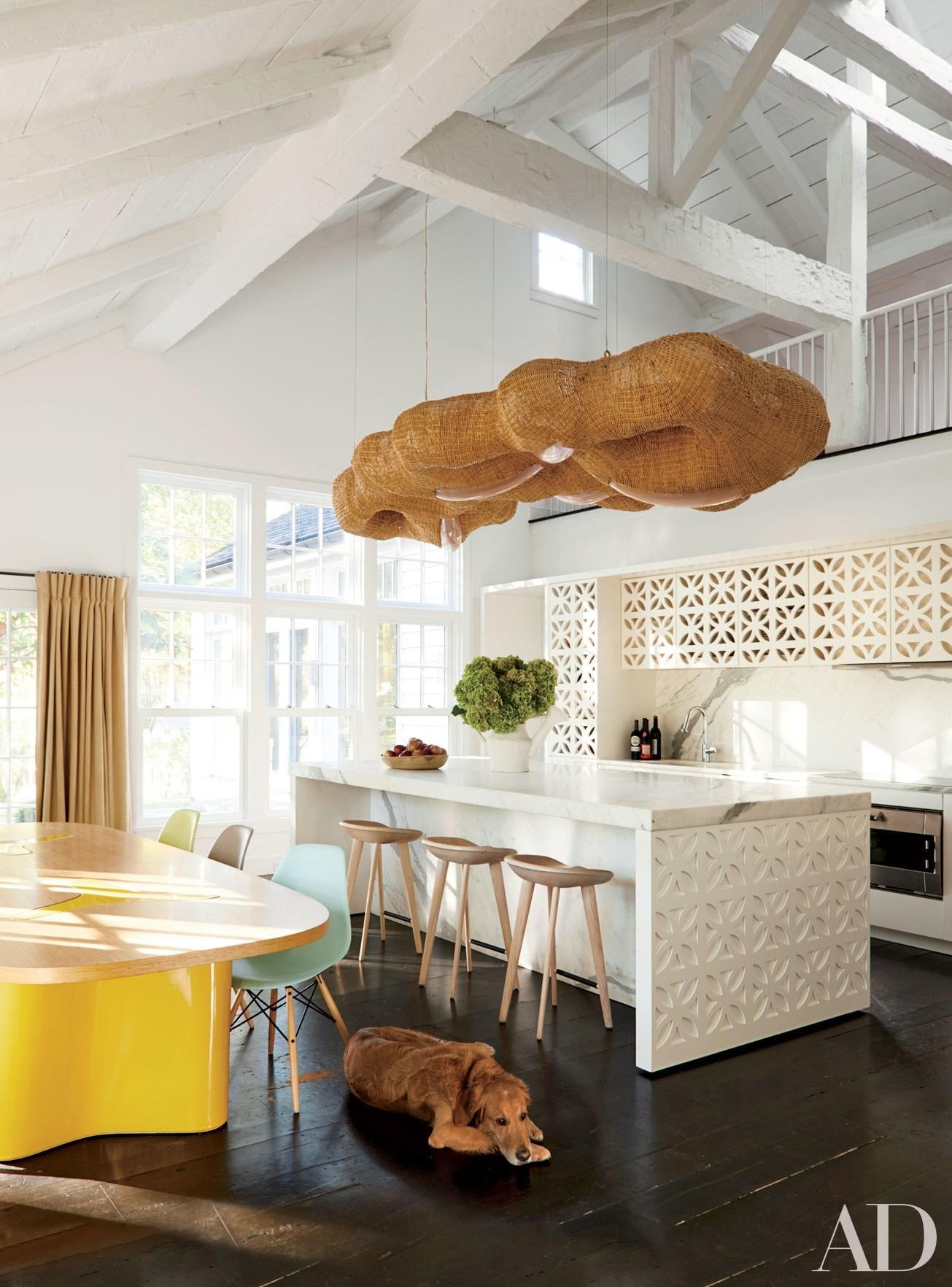 white kitchen hardwood floor dog