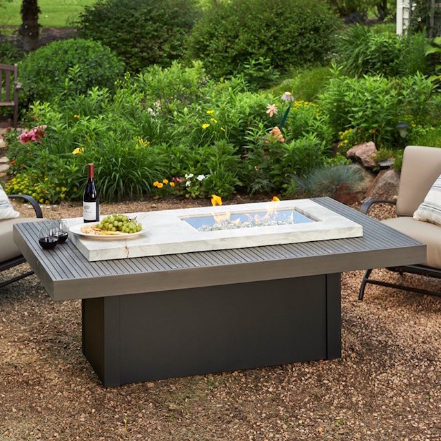 white onyx planked wood fire pit table