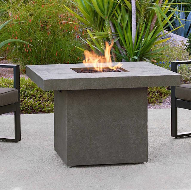 gray concrete fire pit chat height table