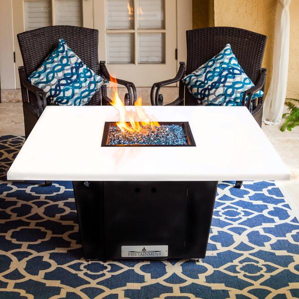 white quartz fire pit table