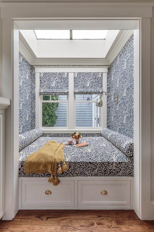 blue patterned reading corner skylight