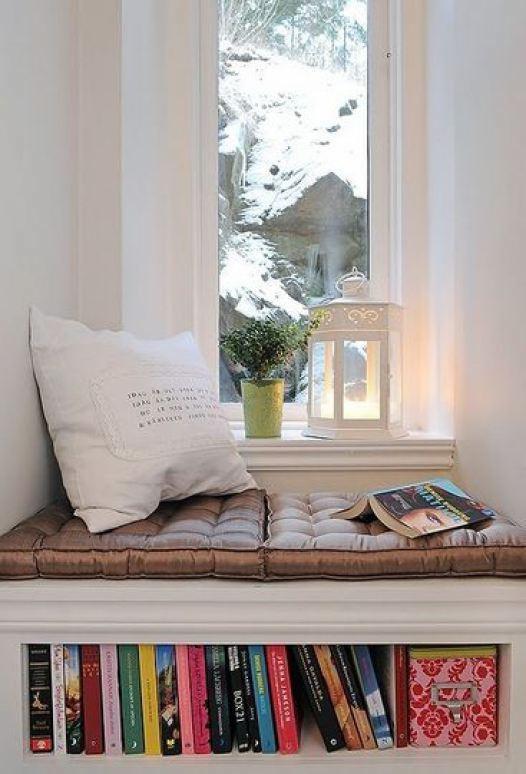 Window seat bookshelf reading corner