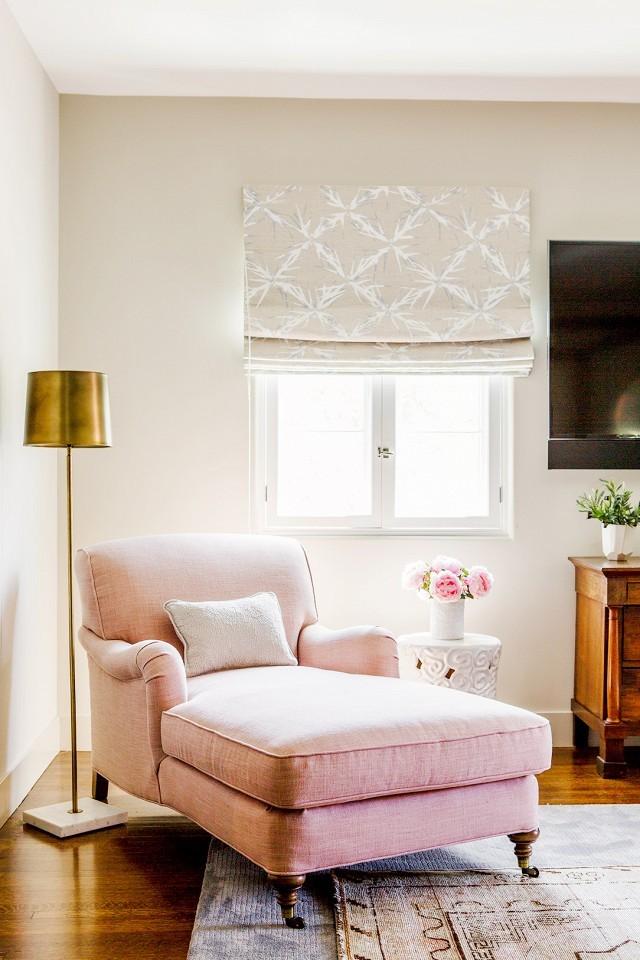 pink chaise metallic lamp reading corner