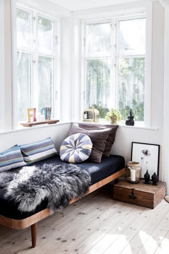 black bench pillow reading corner