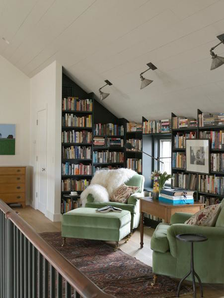 green armchair niche library