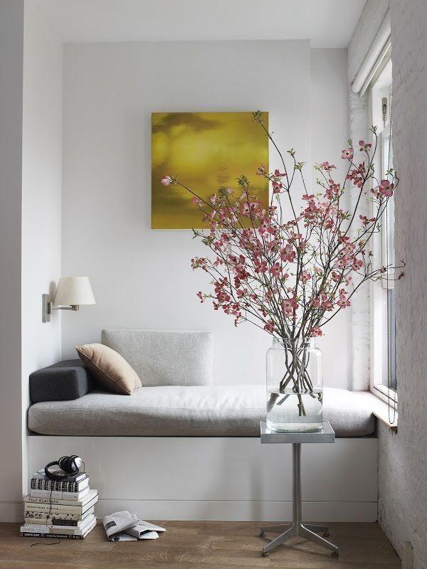 minimal gray reading corner blooming branches