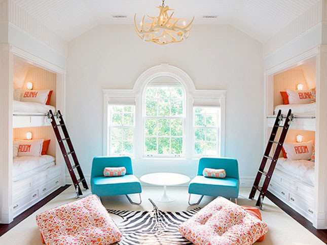 blue chairs bunk beds zebra rug