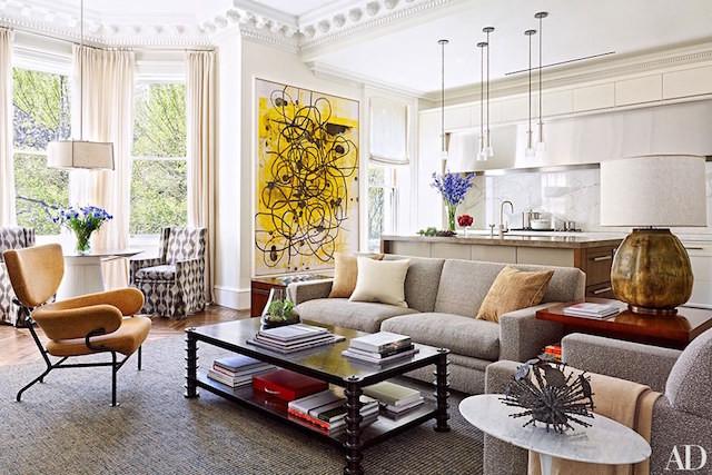 modern art kitchen living room