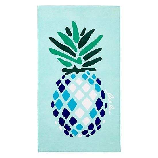 blue-green beach towel with pineapple pattern