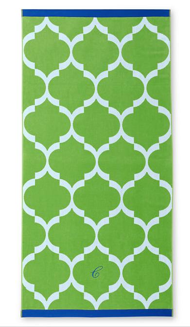 green tile print beach towel
