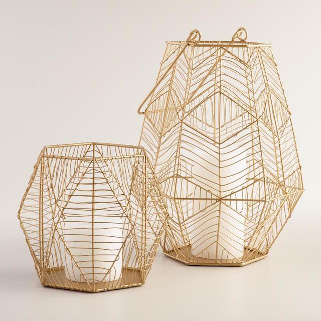 Gold wire hurricane lantern
