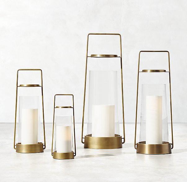 slim brass lantern