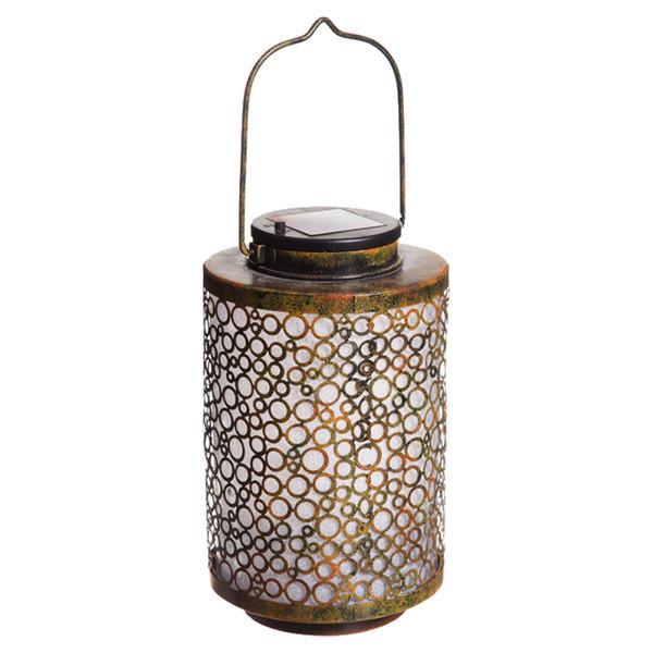 golden metal fretwork solar lantern