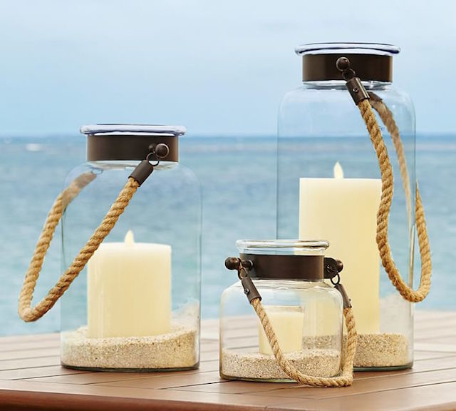 Bronze rope glass lantern