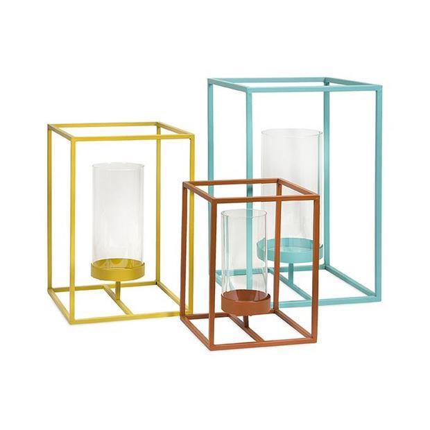 Yellow orange turquoise modern lantern set