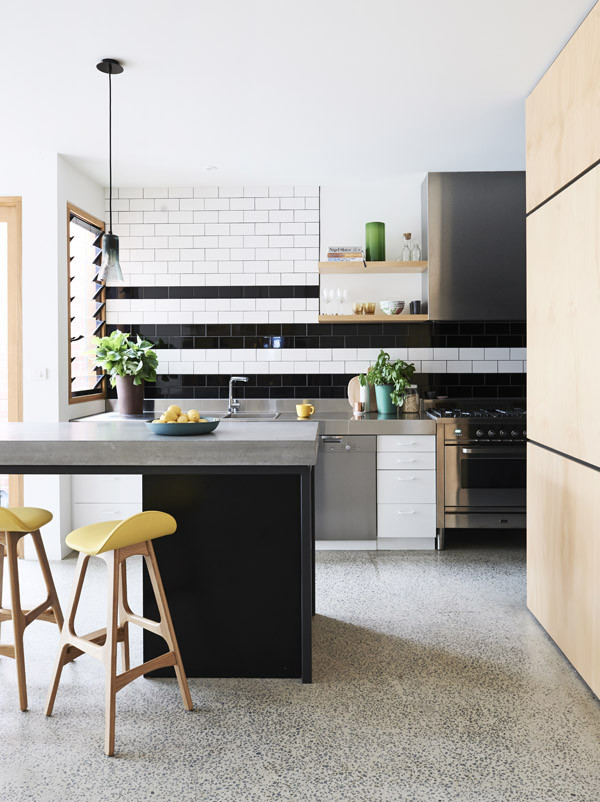 black and white striped kitchen tile backsplash