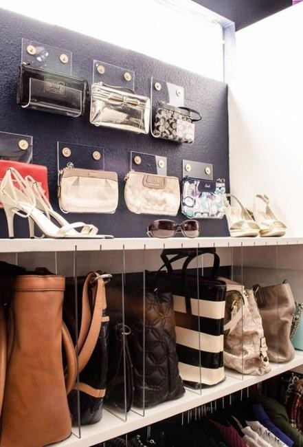 Wall-mounted containers made from acrylic handbags