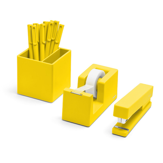 Yellow three-piece desk set