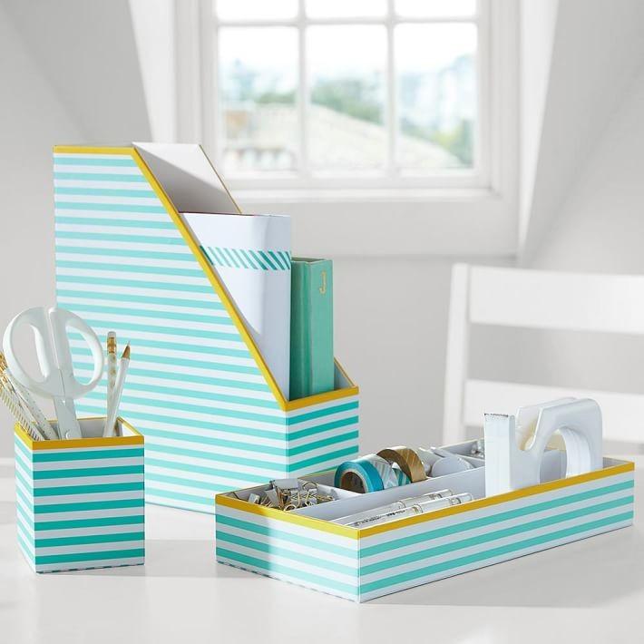 Blue yellow striped desk accessories