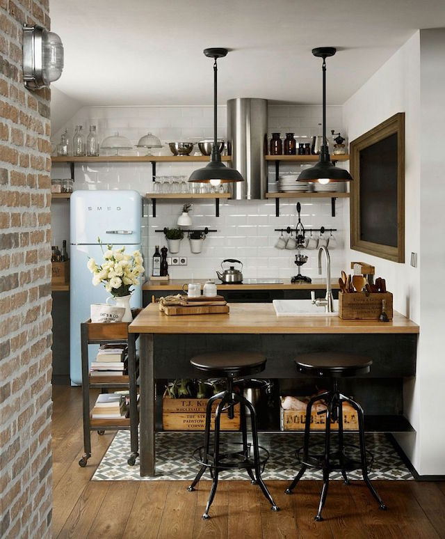Industrial kitchen with open wooden shelves